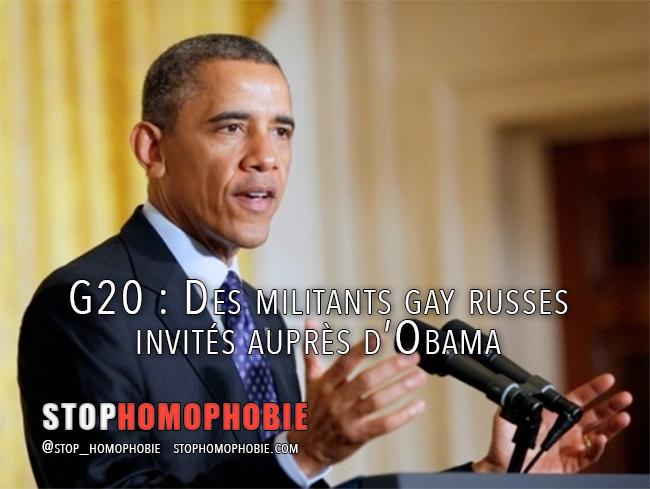 G20 : Des militants gay russes invités auprès d'Obama