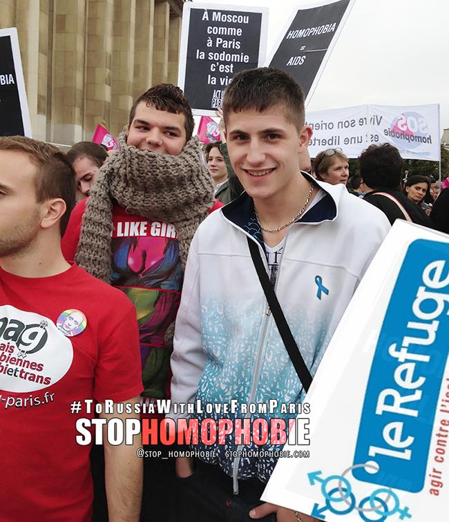 @_LeRefuge au rassemblement du 13 septembre, place du #Trocadéro, en solidarité avec les #LGBT russes