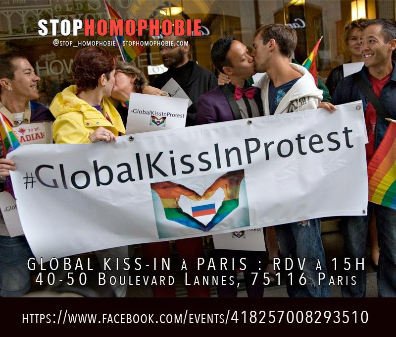 Dans le cadre du Global Kiss-In à Paris : RDV à 15H40-50 Boulevard Lannes, 75116 Paris