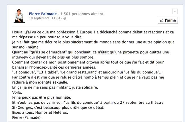 Suite à son témoignage sur Europe 1, Pierre Palmade présente ses excuses à la communauté gay