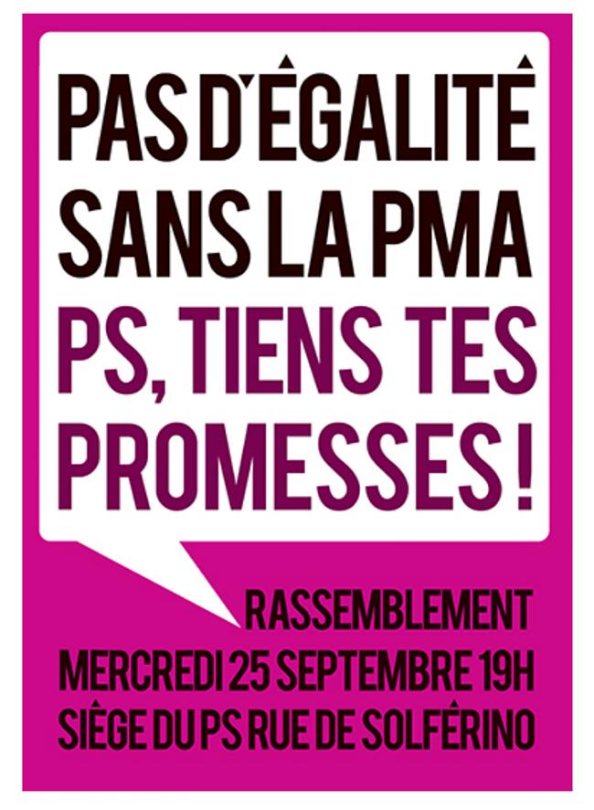 Pour se remémorer les engagements du gouvernement sur la #pma : rassemblement ce 25 septembre rue de Solférino