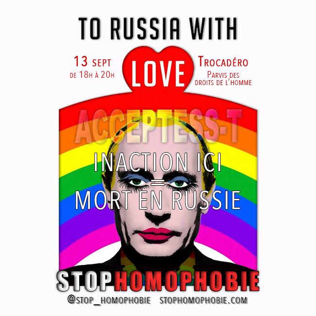 Trocadéro : Mobilisation pour protester contre les #lois #homophobes russes qui répriment la communauté LGBT