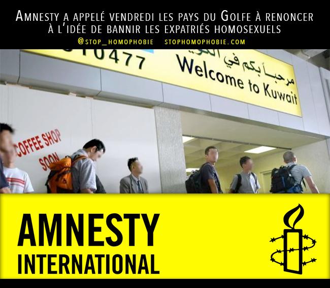 @Amnesty a appelé vendredi les pays du Golfe à renoncer à l'idée de #bannir les #expatriés #homosexuels