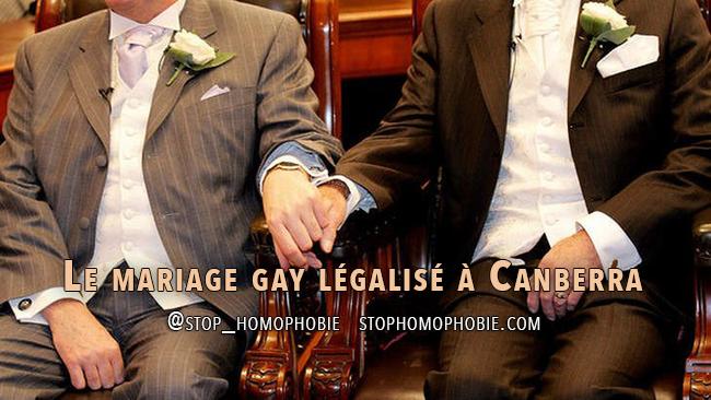 Australie : Le mariage gay légalisé à Canberra