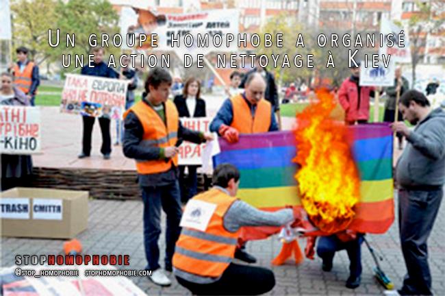 Ukraine : Un groupe #homophobe a organisé une action de nettoyage à #Kiev