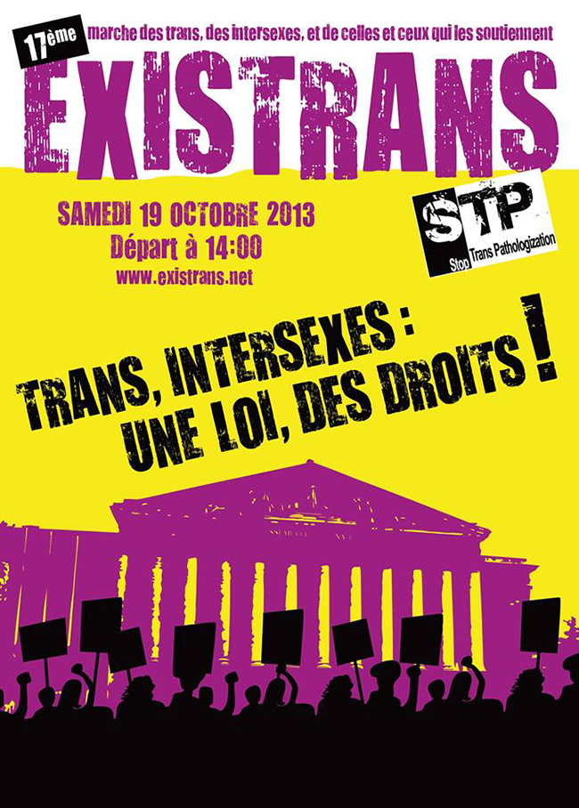 EXISTRANS - ce 19 octobre : marche des personnes Trans & Intersexes et de celles et ceux qui les soutiennent