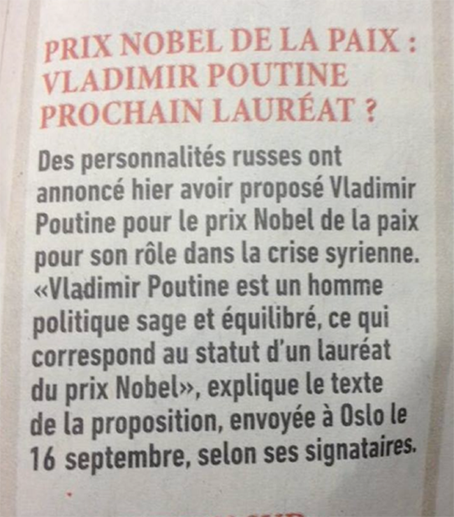 #Poutine, futur Prix #Nobel de la #paix ?