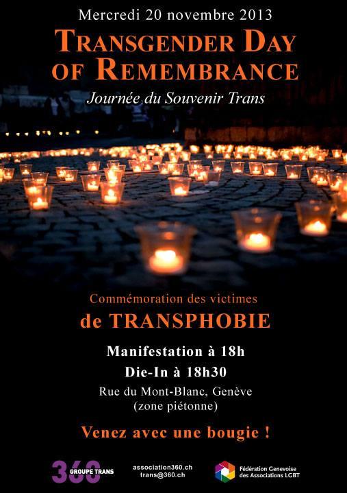 #Genève #victimes de #transphobie : Journée du Souvenir #Trans ce mercredi 20 novembre. Manifestation à 18h – Die-in à 18h30