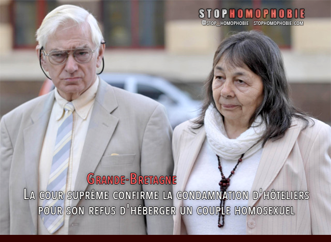 Grande-Bretagne : La cour suprême confirme la #condamnation d'#hôteliers pour son refus d'#héberger un #couple #homosexuel