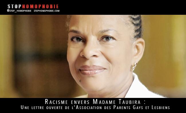 Racisme envers Taubira : Une lettre ouverte de l'Association des Parents Gays et Lesbiens