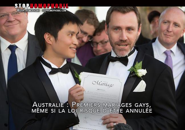 Australie : Premiers mariages gays, même si la loi risque d'être annulée