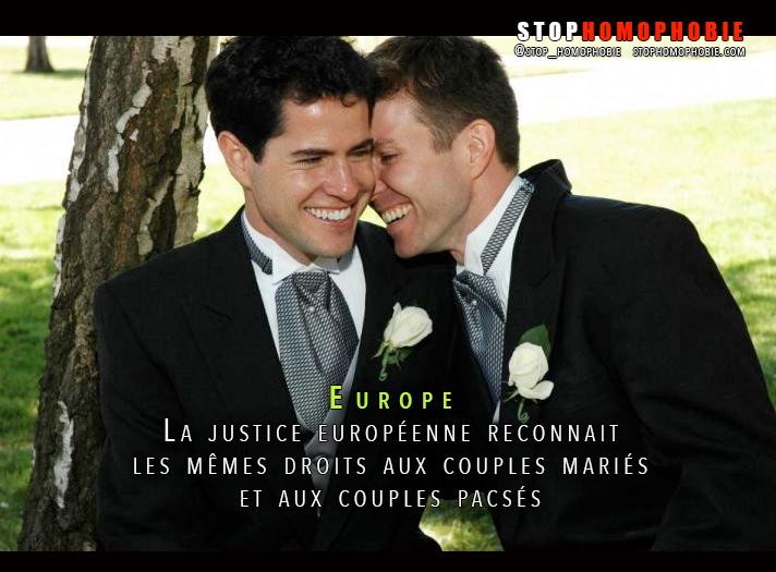 Europe : La justice européenne reconnait les mêmes droits aux couples mariés et aux couples pacsés