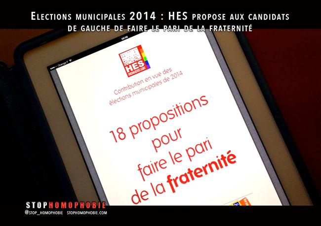 #Elections #municipales2014 : Homosexualités et Socialisme propose aux candidats de gauche de faire le pari de la fraternité envers les LGBT