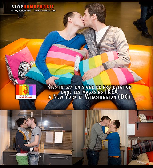 #ToRussiaWithLove : Kiss_in gay improvisé dans les magasins #IKEA à #NYC et Whashington (DC) en signe de protestation