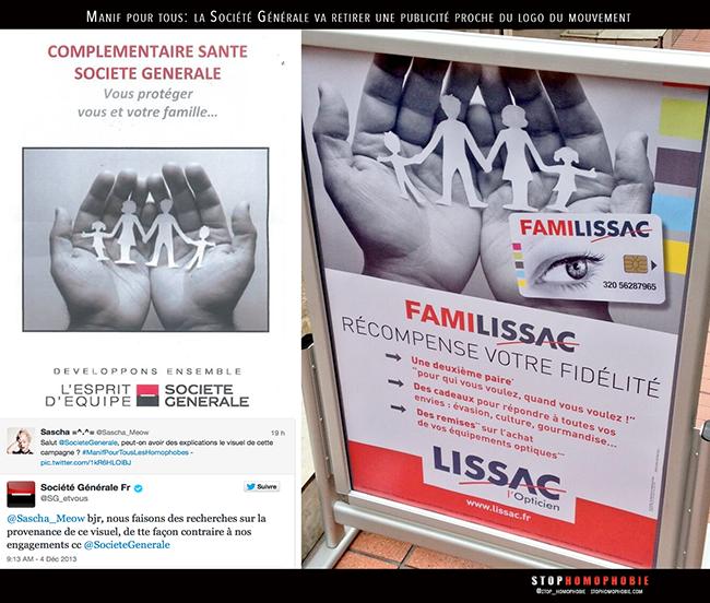 #ManifPourTous : La #SociétéGénérale va devoir repenser la publicité de sa complémentaire santé.