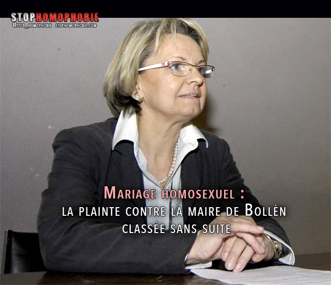Mariage homosexuel : la plainte contre la maire de Bollène classée sans suite :(