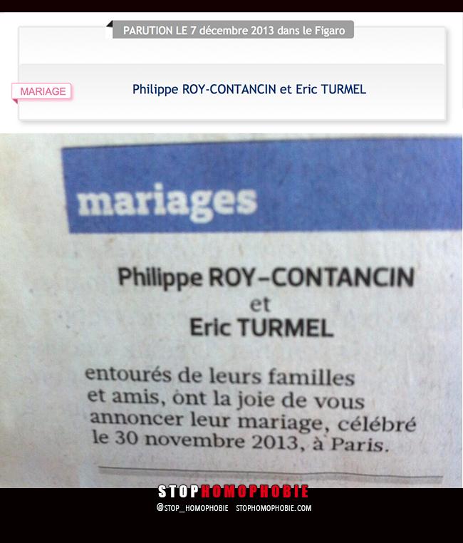 """Quand @Le_Figaro publie dans son """"Carnet du jour"""" l'annonce d'un mariage entre deux hommes :)"""