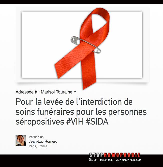 """Pétition solidaire pour """"la levée de l'interdiction de soins funéraires pour les personnes séropositives"""""""