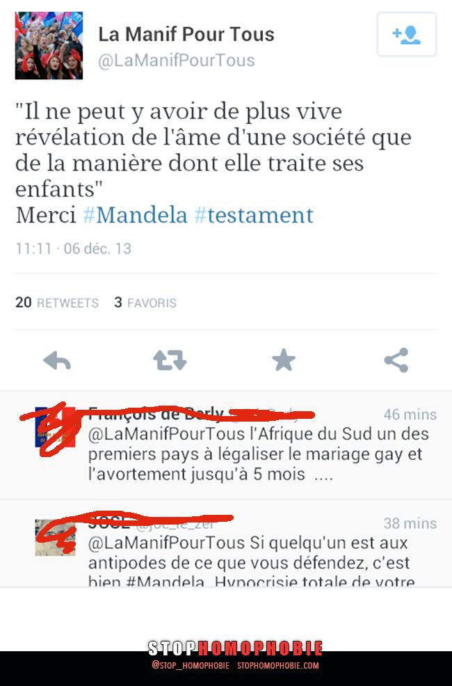 Quand #LaManif qui luttent contre le #MariagePourTous récupère le message de celui qui l'a constitutionnalisé. #Mandela