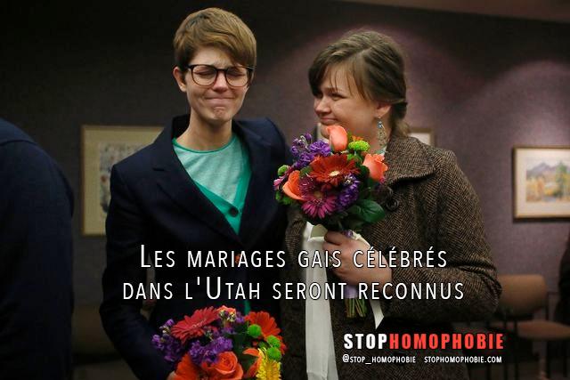 Les mariages gais célébrés dans l'#Utah seront reconnus