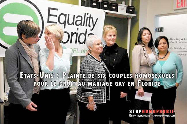 Etats-Unis : Plainte de six couples homosexuels pour le droit au mariage gay en Floride