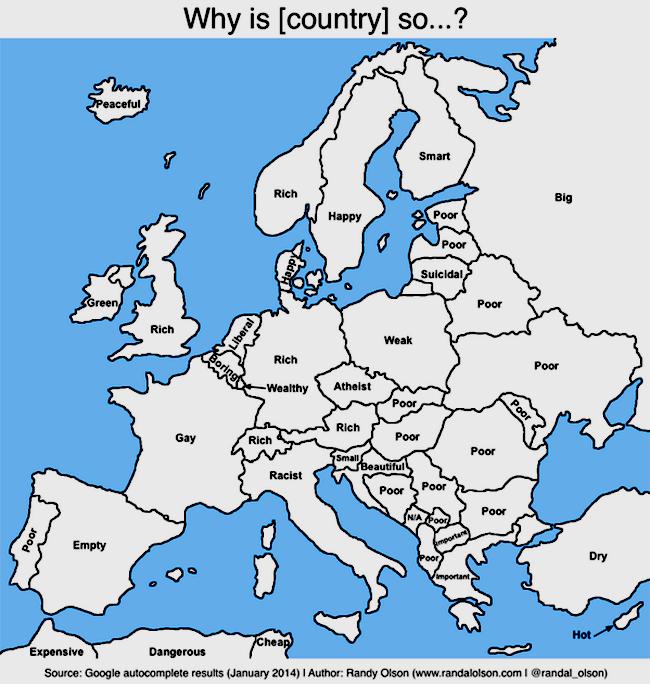 """Pour Google : La France est """"gay"""", la Belgique """"ennuyeuse"""", ou l'Allemagne """"riche""""..."""