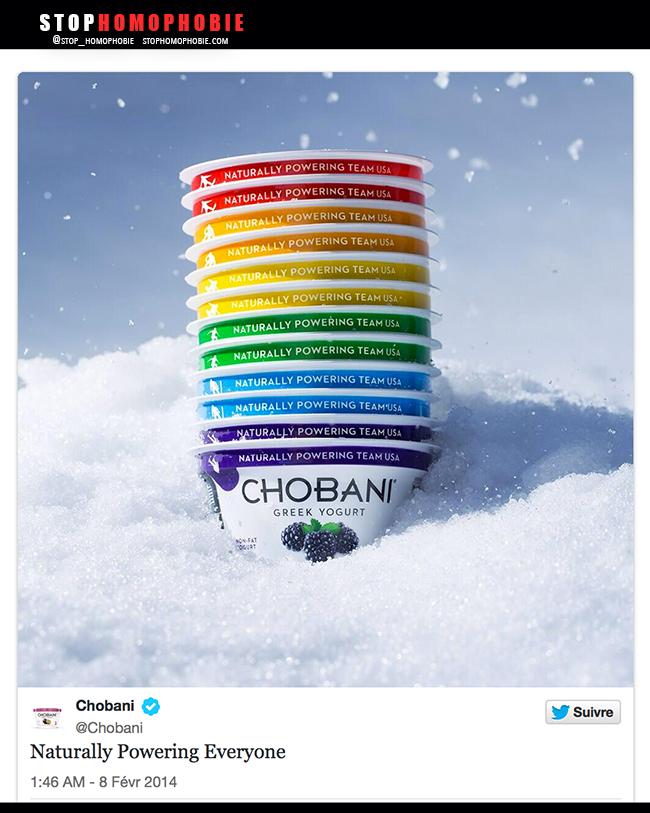 #CheersToSochi : Quand la marque de yaourts grecs #Chobani dénonce la répression homophobe en Russie.