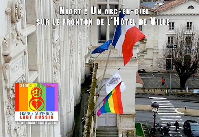 #Solidarité #Niort : Un arc-en-ciel sur le fronton de l'Hôtel de Ville