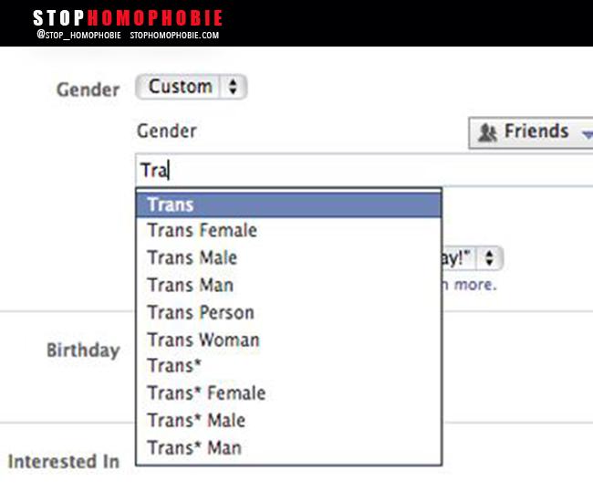 Facebook vous autorise à être #transgenre