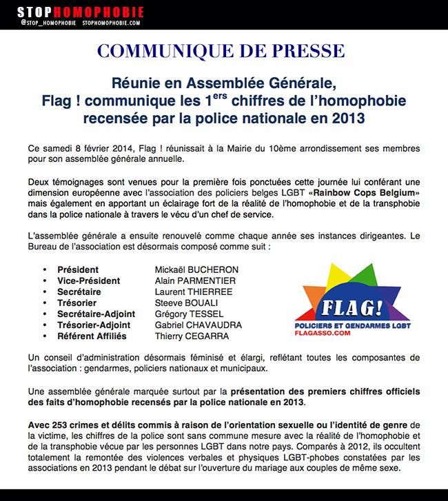 1ers chiffres de l'homophobie recensée par la police nationale en 2013