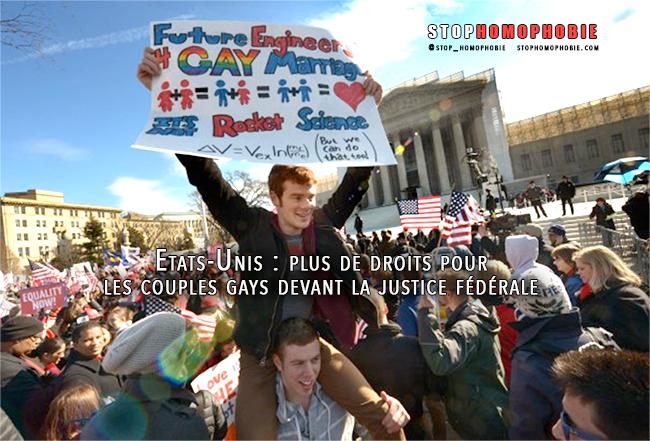 USA: davantage de droits pour les couples gays devant la justice fédérale