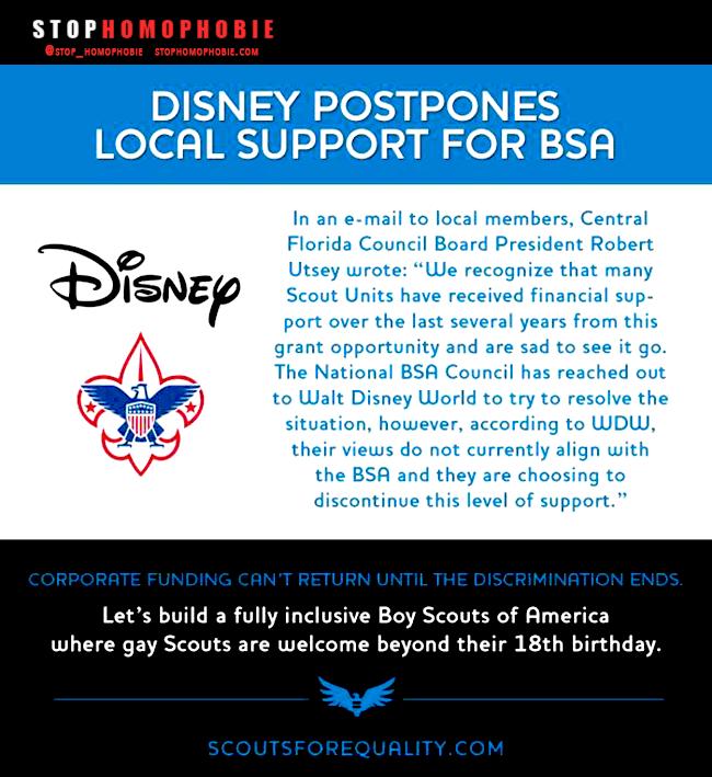 """USA : @Disney va suspendre son soutien financier aux """"Boys Scouts of America"""" pour leur politique d'#inclusion jugée discriminante"""