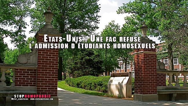 Reportage vidéo : Une fac américaine refuse l'admission d'étudiants #homosexuels