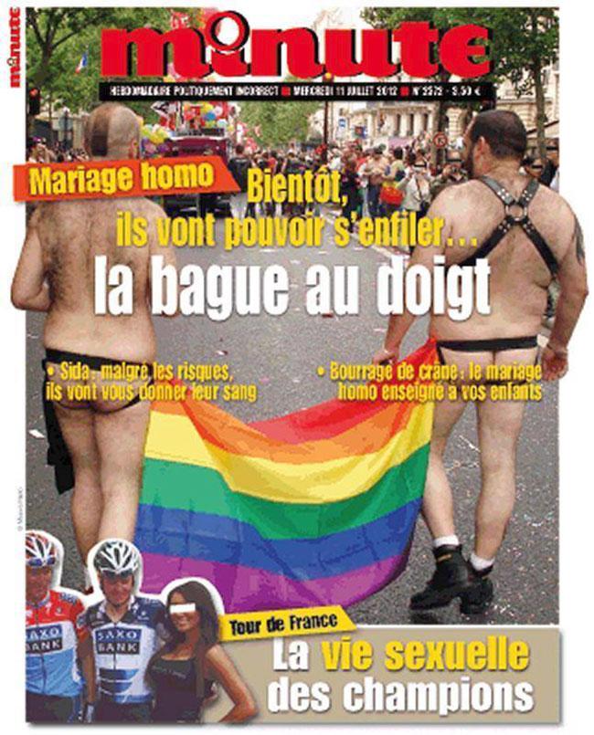 """L'hebdomadaire """"Minute"""" poursuivi par SOS Homophobie pour sa une sur le mariage gay"""