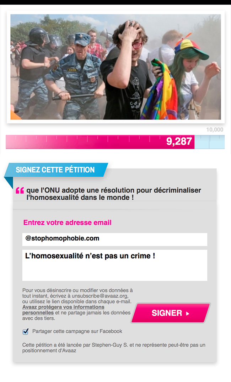 Pétition solidaire : Faisons pression pour que l'#ONU adopte une résolution pour décriminaliser l'#homosexualité