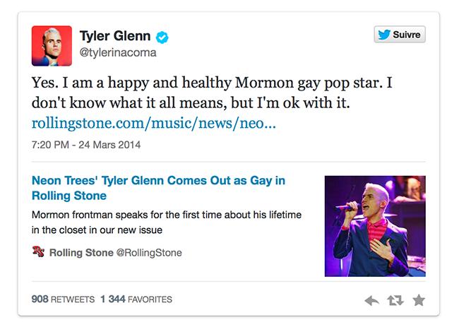 Quand Tyler Glenn, chanteur du groupe Neon Trees, pop star mormone, fait son coming out