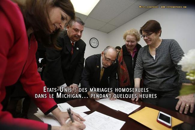 Etats-Unis : des mariages homosexuels dans le Michigan... pendant quelques heures