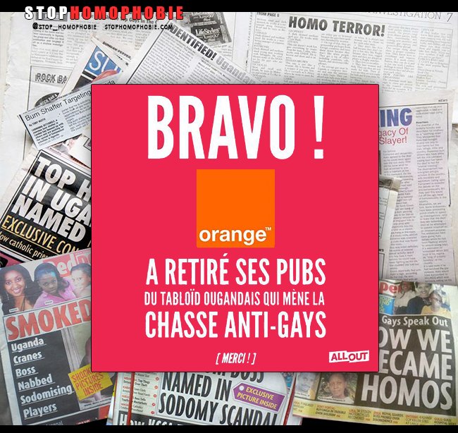 """@orange retire ses publicités du tabloïd ougandais """"Red Pepper"""" qui mène la chasse anti-gay"""
