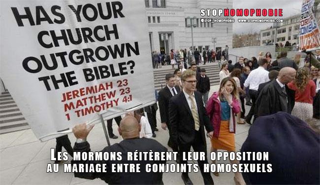 Les mormons réitèrent leur opposition au mariage entre conjoints homosexuels