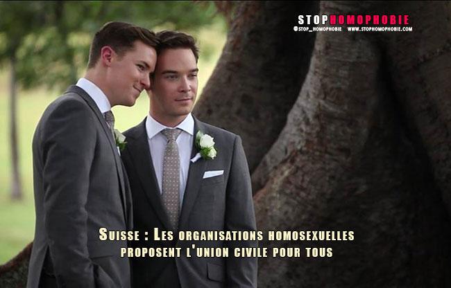 Suisse : Les organisations homosexuelles proposent l'union civile pour tous