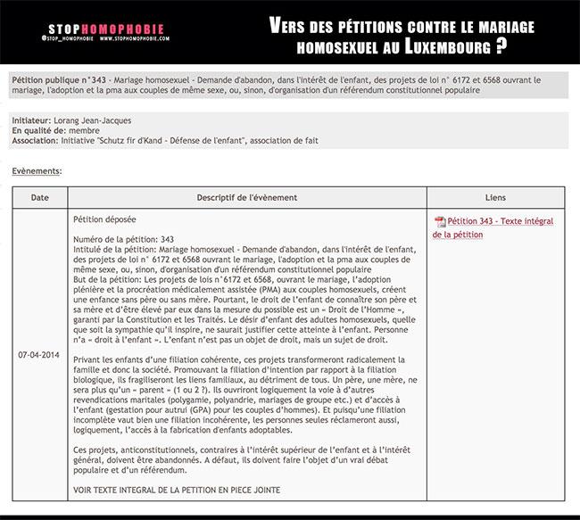 Luxembourg : Vers des pétitions contre le mariage homosexuel ?