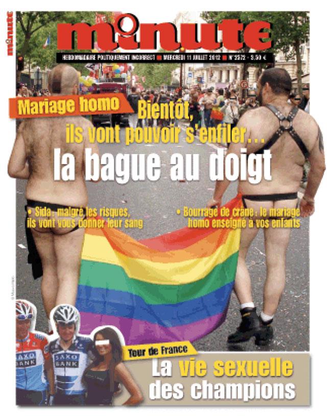 « Minute » condamné pour homophobie pour sa couverture sur le mariage homosexuel