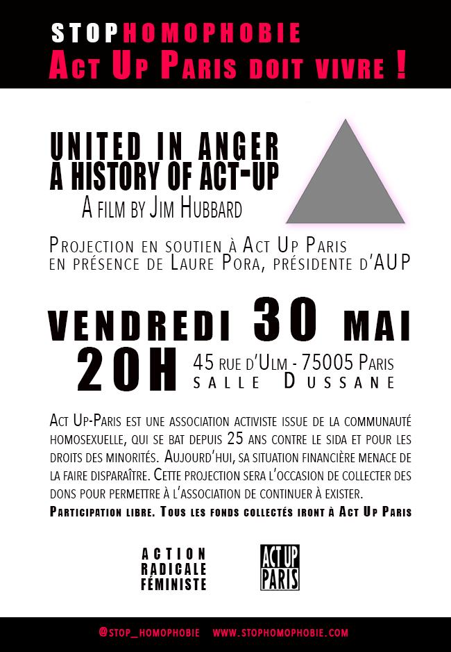 Act Up Paris doit vivre ! Soirée de soutien le vendredi 30 mai à 20h, organisée par le Collectif féministe ARF (action radicale féministe).
