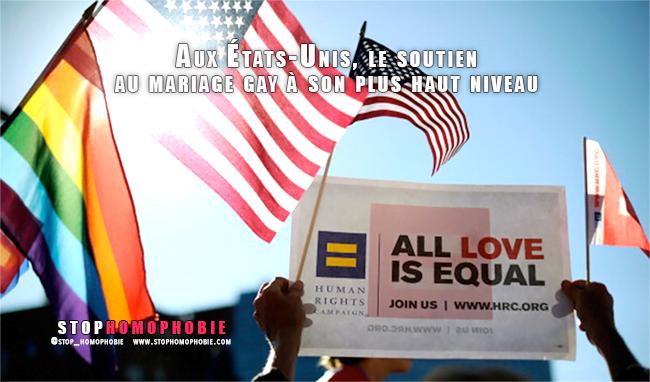 Aux États-Unis, le soutien au mariage gay à son plus haut niveau