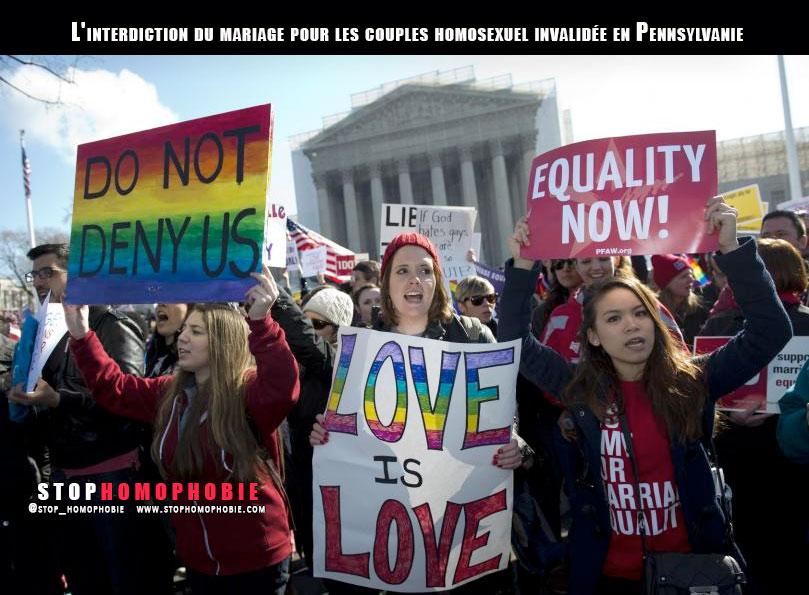 La Pennsylvanie autorise à son tour le mariage pour les couples homosexuels