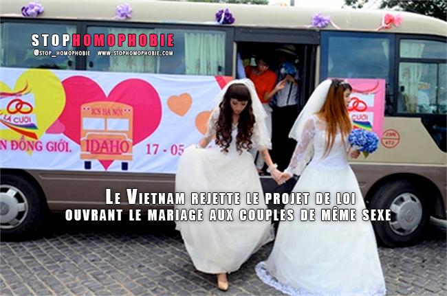 Le Vietnam rejette le projet de loi ouvrant le mariage aux couples de même sexe
