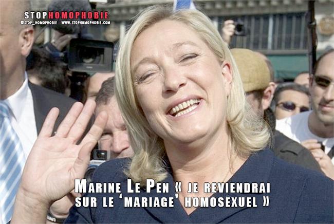"""Quand Marine Le Pen promettait de revenir sur le """"mariage homosexuel"""""""