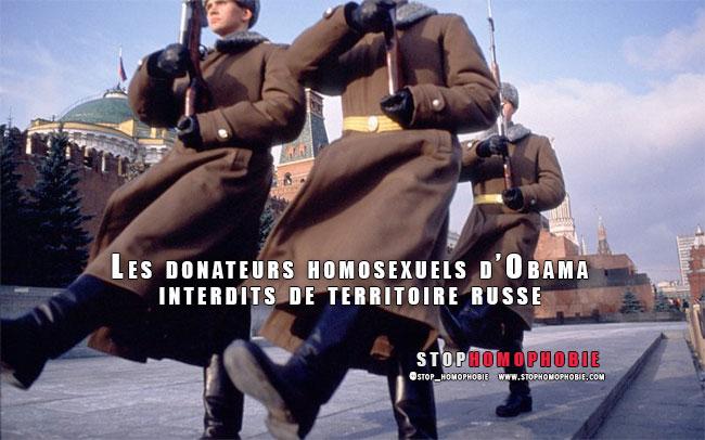 Russie : Les donateurs homosexuels d'Obama interdits de territoire