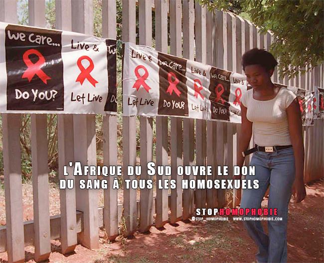 Fin d'une pratique discriminatoire : l'Afrique du Sud ouvre le don du sang à tous les homosexuels :)