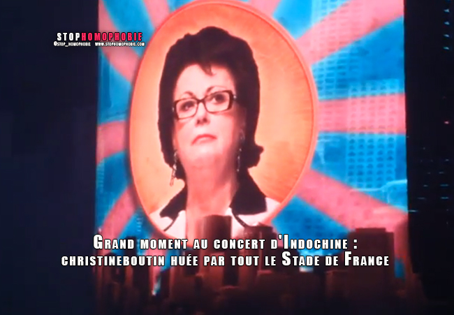 VIDEO. Grand moment au concert d'Indochine : @christineboutin huée par tout le Stade de France :)